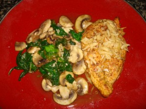 Pan Seared Chicken with Spinach and Mushrooms
